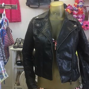Faux leather moto jacket XS